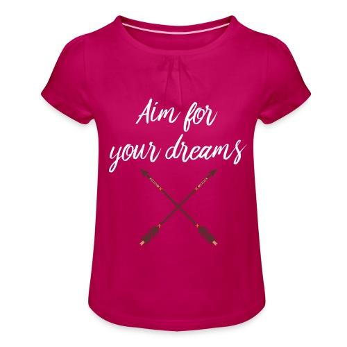 Aim for your Dreams white - Tyttöjen t-paita, jossa rypytyksiä