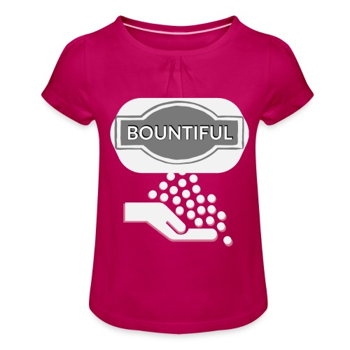 Bontiul gray white - Girl's T-Shirt with Ruffles