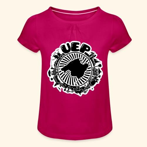 UEP white background - Girl's T-Shirt with Ruffles