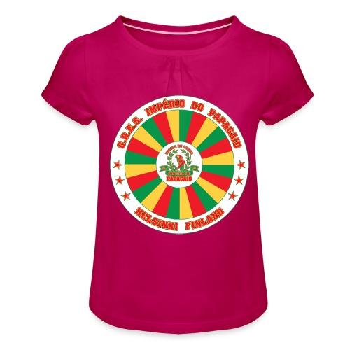 Papagaio drum logo - Tyttöjen t-paita, jossa rypytyksiä
