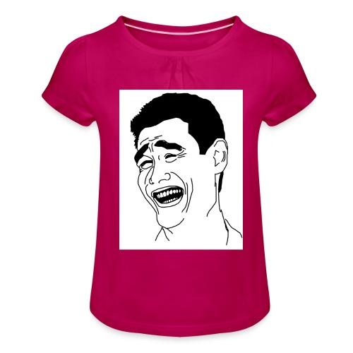 Yao Ming Face Bitch Please - Koszulka dziewczęca z marszczeniami