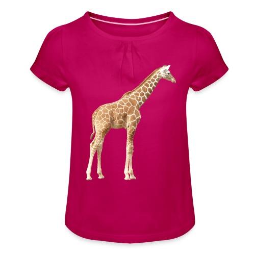 Giraffe - Mädchen-T-Shirt mit Raffungen
