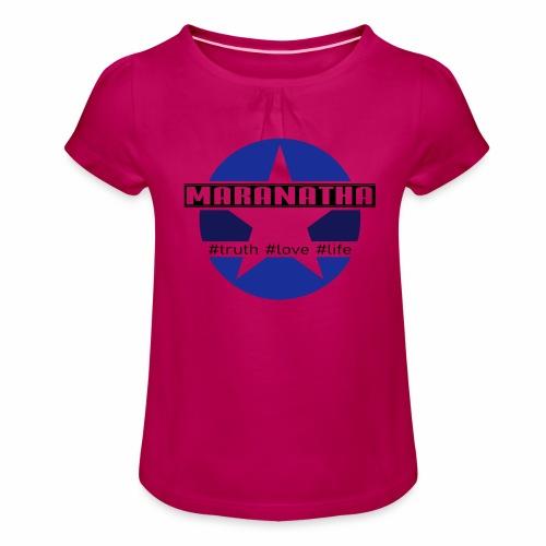 maranatha blau-braun - Mädchen-T-Shirt mit Raffungen