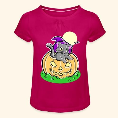 kürbiskatze.PNG - Mädchen-T-Shirt mit Raffungen