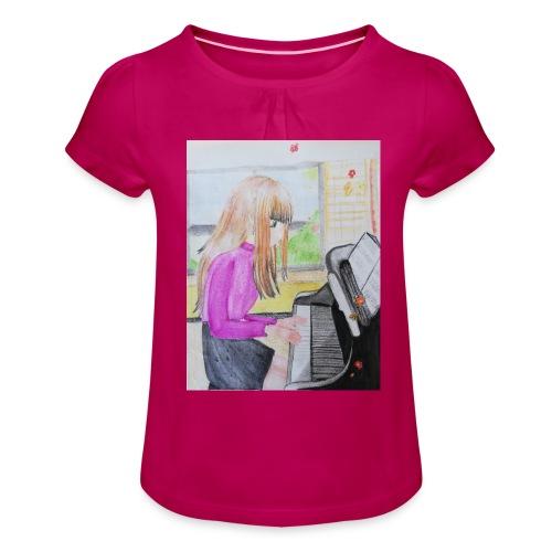 maedchen am klavier - Mädchen-T-Shirt mit Raffungen