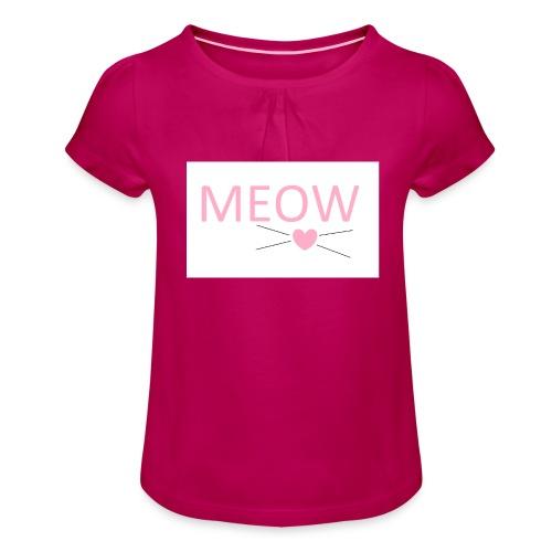 MEOW - Koszulka dziewczęca z marszczeniami