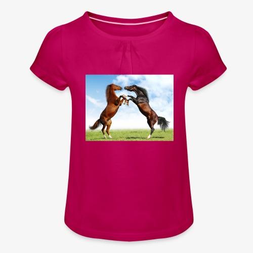 kaksi hevosta - Tyttöjen t-paita, jossa rypytyksiä