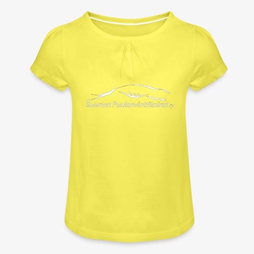 SUP logo valkea - Tyttöjen t-paita, jossa rypytyksiä