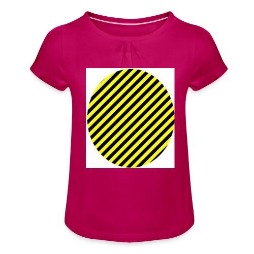 varninggulsvart - T-shirt med rynkning flicka