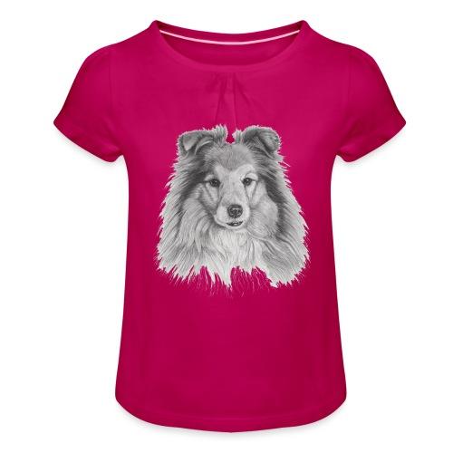 shetland sheepdog sheltie - Pige T-shirt med flæser