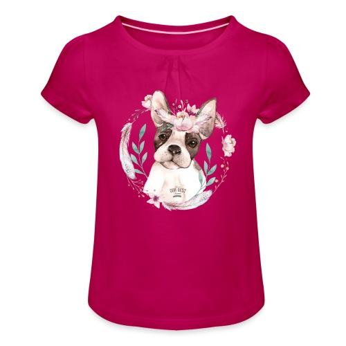 French Bully Flowers - Französische Bulldogge - Mädchen-T-Shirt mit Raffungen