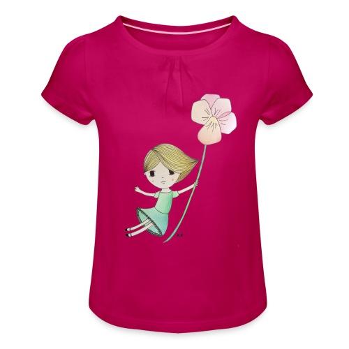 meisje met viool - Meisjes-T-shirt met plooien
