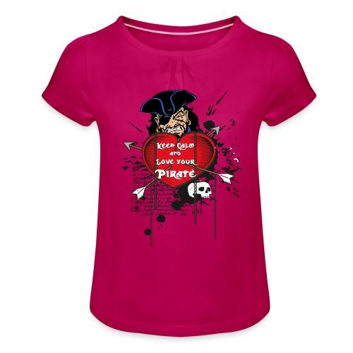 love your pirate - Maglietta da ragazza con arricciatura