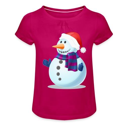 Świąteczny Bałwanek - Koszulka dziewczęca z marszczeniami