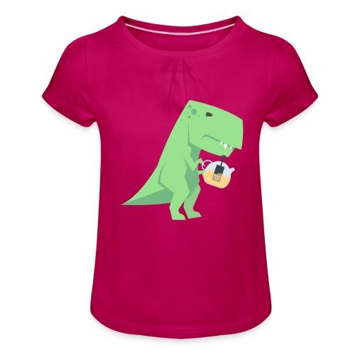 Tea-Saurus - Mädchen-T-Shirt mit Raffungen
