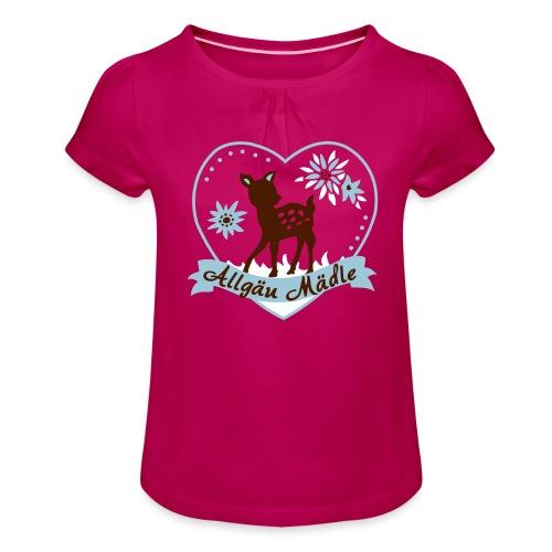 Allgäu Mädel mit Reh - Mädchen-T-Shirt mit Raffungen