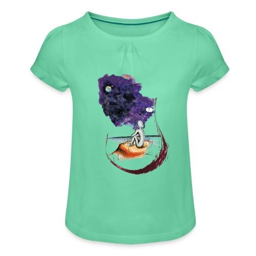 Extraterrestre en contemplation - T-shirt à fronces au col Fille
