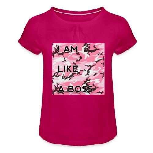 i am loke a boss premium pink camo - Mädchen-T-Shirt mit Raffungen