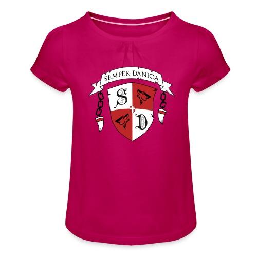 SD logo - sorte lænker - Pige T-shirt med flæser