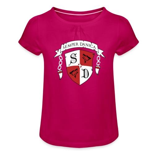 SD logo - hvide lænker - Pige T-shirt med flæser