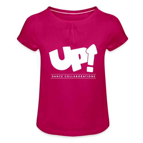 Up Dance White Logo - Girl's T-Shirt with Ruffles