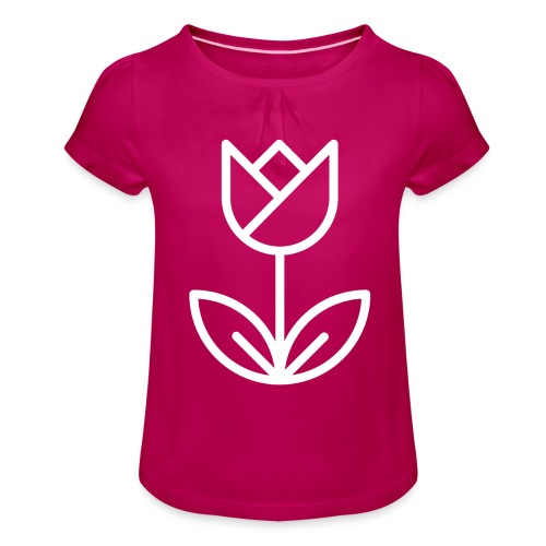 Tulip white png - Girl's T-Shirt with Ruffles