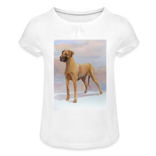 Great Dane Yellow - Pige T-shirt med flæser