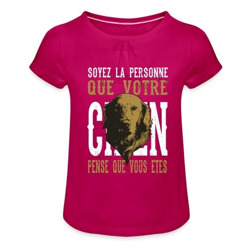 Un amour de chien - T-shirt à fronces au col Fille