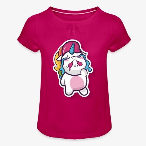 Funny Unicorn - Girl's T-Shirt with Ruffles