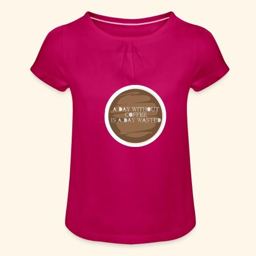 coffee - T-shirt med rynkning flicka
