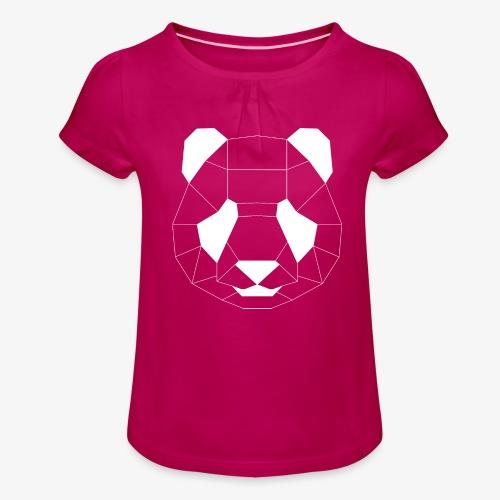 Panda Geometrisch weiss - Mädchen-T-Shirt mit Raffungen