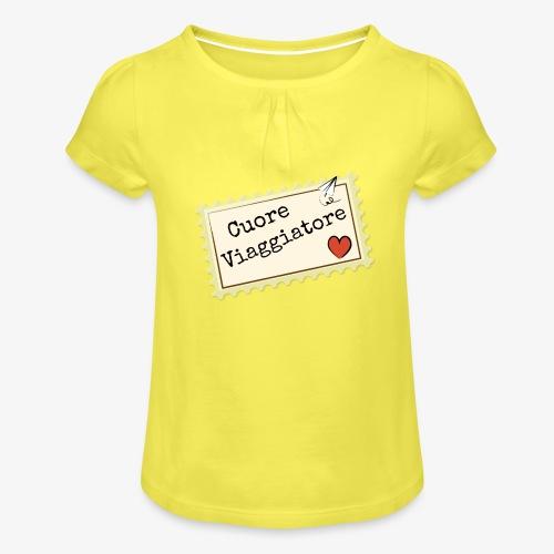CUORE VIAGGIATORE Scritta con aeroplanino e cuore - Maglietta da ragazza con arricciatura