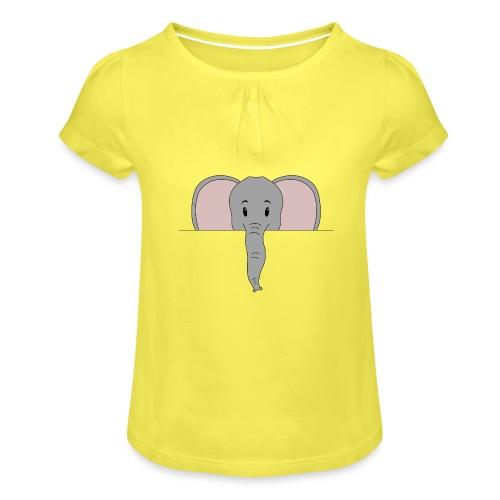 Elefant Marvin - Mädchen-T-Shirt mit Raffungen