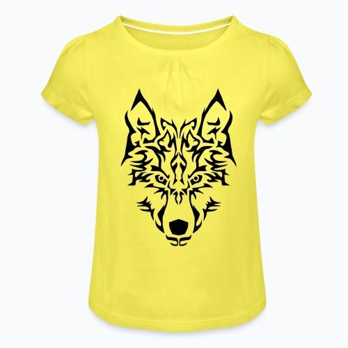 Tribal Wolf - T-shirt à fronces au col Fille