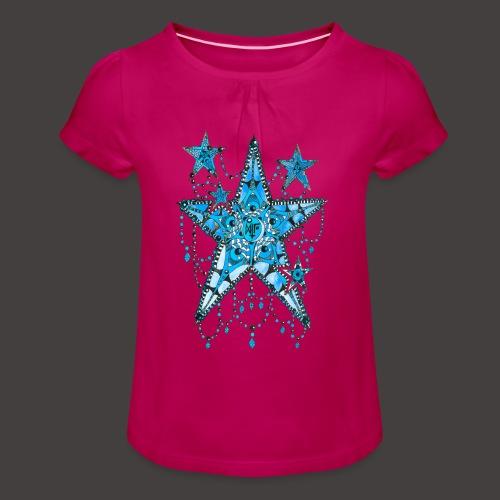 ETOILE DENTELLE BLEUE - T-shirt à fronces au col Fille