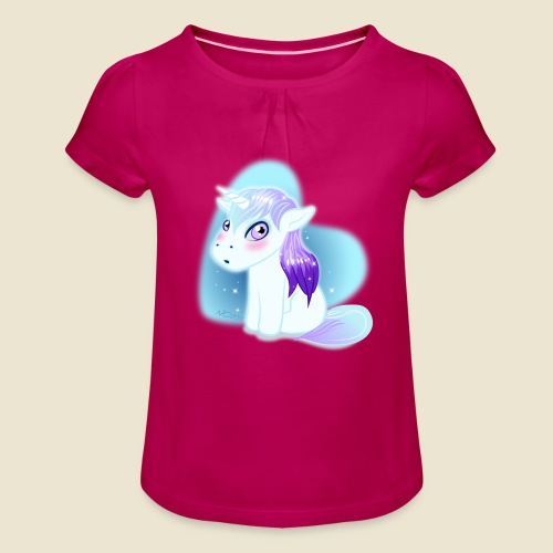 Licorne n°2 - T-shirt à fronces au col Fille