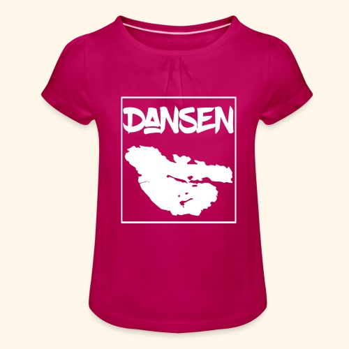 DansenKartaVit - T-shirt med rynkning flicka