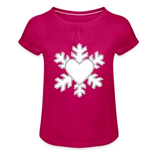 Flocon coeur 3D - T-shirt à fronces au col Fille