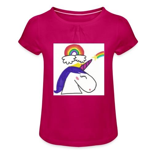 Unicorno arcobaleno - Maglietta da ragazza con arricciatura