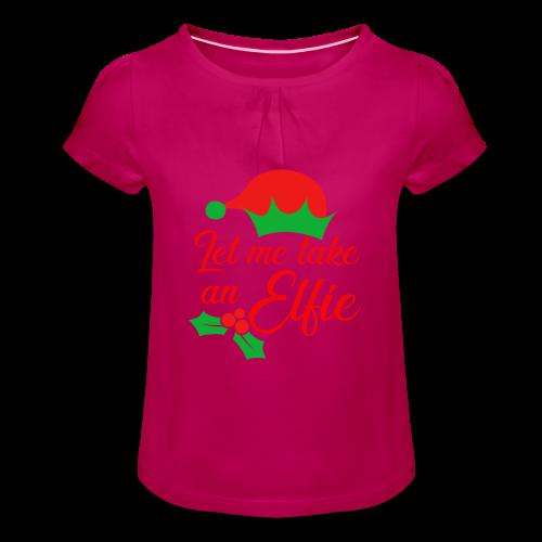 Weihnachten   Elf Mütze Weihnachtself Wortspiel - Mädchen-T-Shirt mit Raffungen