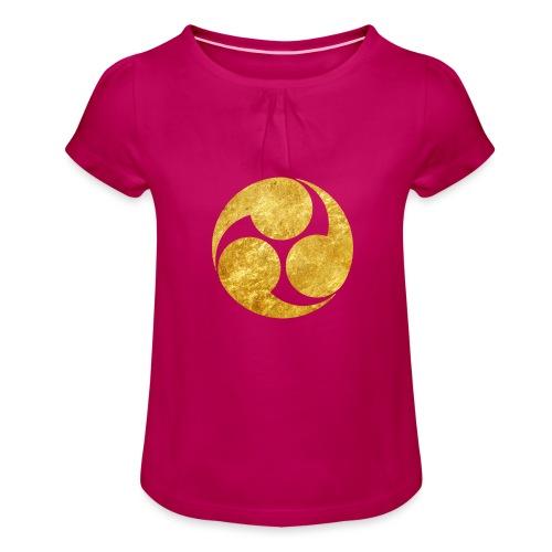 Kobayakawa Mon Japanese clan gold on black - Girl's T-Shirt with Ruffles