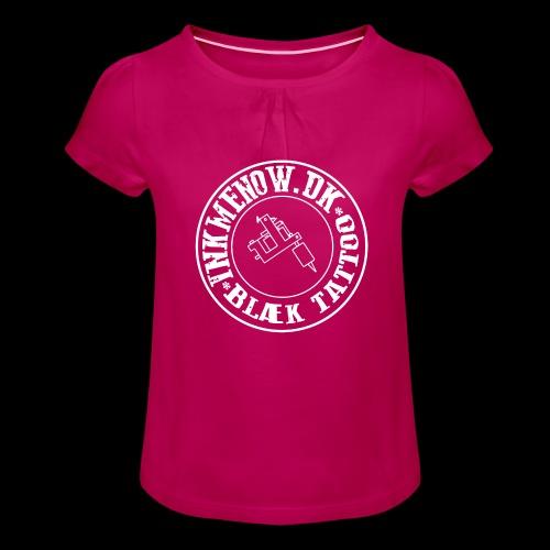 logo hvid png - Pige T-shirt med flæser