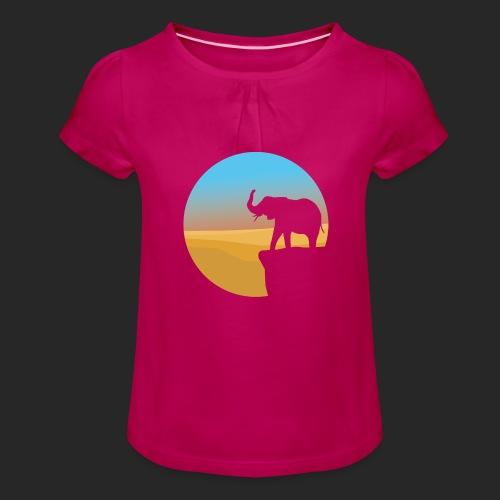 Sunset Elephant - Girl's T-Shirt with Ruffles