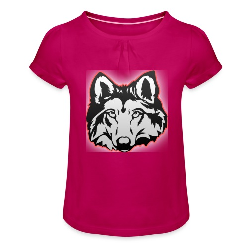 Wolfie (Red) - Girl's T-Shirt with Ruffles