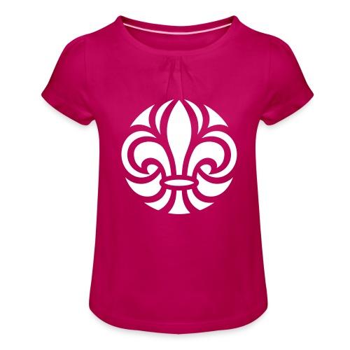 Scouterna-symbol_white - T-shirt med rynkning flicka