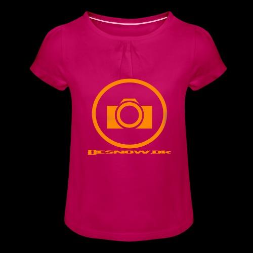 Orange 2 png - Pige T-shirt med flæser