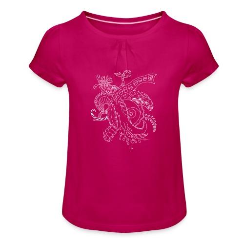 Fantasy hvid scribblesirii - Pige T-shirt med flæser