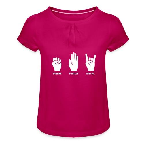 Pierre feuille metal - T-shirt à fronces au col Fille