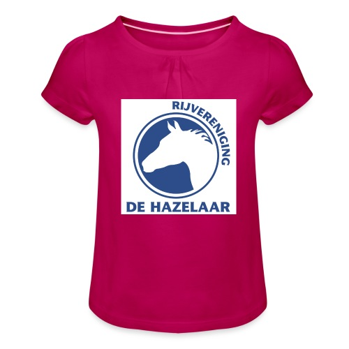 LgHazelaarPantoneReflexBl - Meisjes-T-shirt met plooien