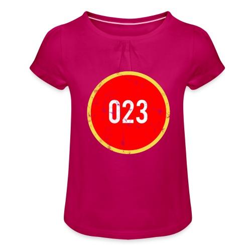 023 logo 2 washed regio Haarlem - Meisjes-T-shirt met plooien